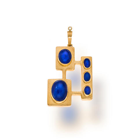 A lapis lazuli and eighteen karat gold pendant, Haroldo Burle-Marx