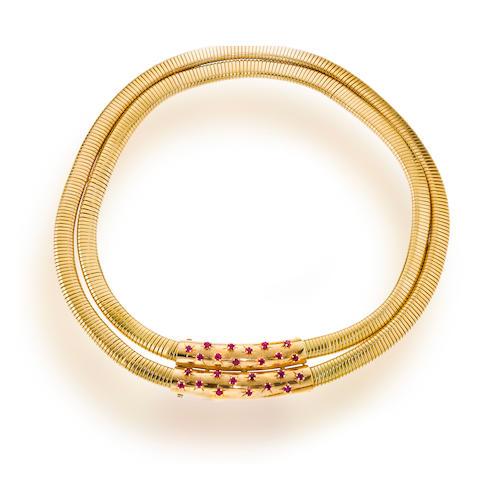 A retro ruby and eighteen karat gold necklace, Van Cleef & Arpels,