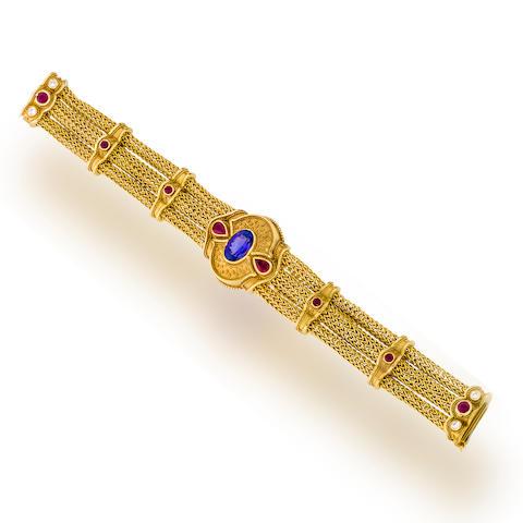 A gem-set and eighteen karat gold bracelet, Kent Raible