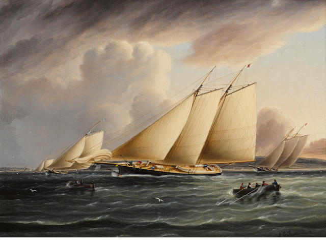 James Edward Buttersworth (British/American, 1817-1894), circa 1870 Schooners from the New York Yacht Club racing in the Narrows12 x 16 in. (30.4 x 40.6 cm.)
