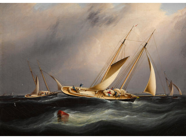 James Edward Buttersworth (British/American, 1817-1894), circa 1870 Schooners from the New York Yacht Club reefing off Sandy Hook 12 x 16 in. (30.4 x 40.6 cm.)