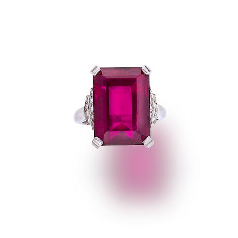 A rubellite tourmaline and diamond ring, Raymond Yard