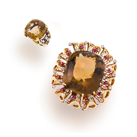 A set of retro gem-set, diamond and fourteen karat gold jewelry,