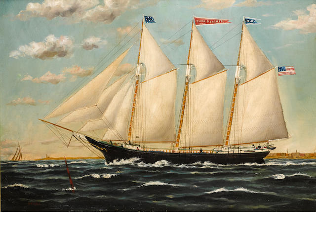 William Pierce Stubbs (American, 1842-1909) The ship Emma Heather headed out to sea 22 x 32 in. (55.8 x 81.2 cm.)