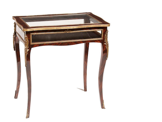 A Louis XV style gilt bronze mounted rosewood bijouterie table