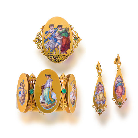 An antique suite of enamel, emerald and eighteen karat gold jewelry,
