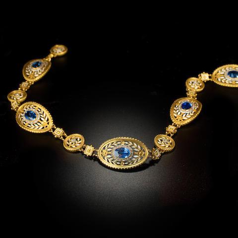 A belle epoqué sapphire, diamond and enamel choker, Lucien Gautrait, Léon Gariod,