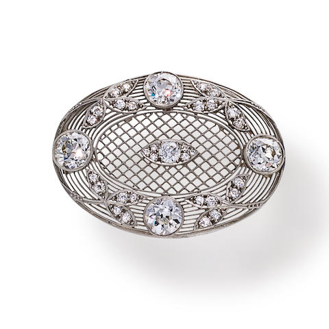 An antique diamond and platinum brooch,