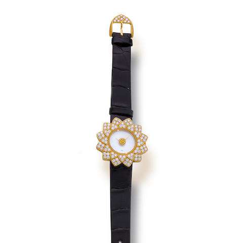 A diamond, mother-of-pearl and eighteen karat gold wristwatch, Buccellati