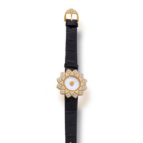 A diamond, mother-of-pearl and eighteen karat gold wristwatch, Buccellati