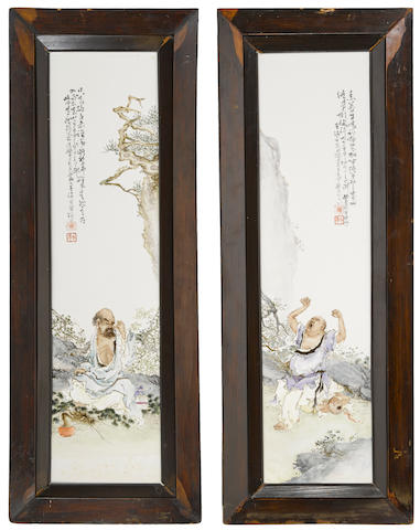 Two famille-rose enameled porcelain plaques depicting Buddhist figures Wang Qi, dated by inscription to 1932