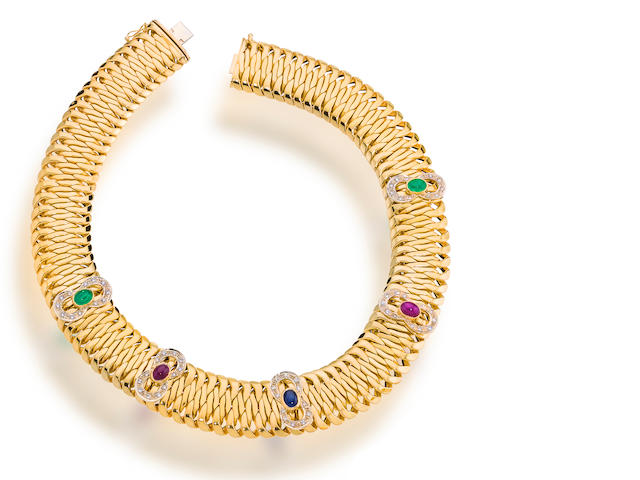A gem-set, diamond and fourteen karat gold necklace