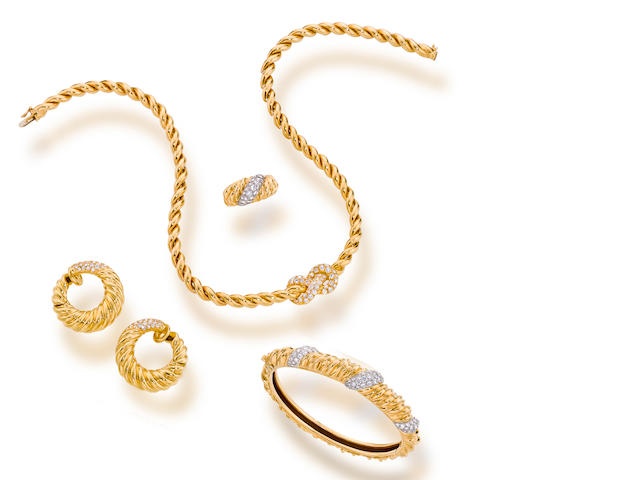 A suite of diamond and eighteen karat gold jewelry, Van Cleef & Arpels, French