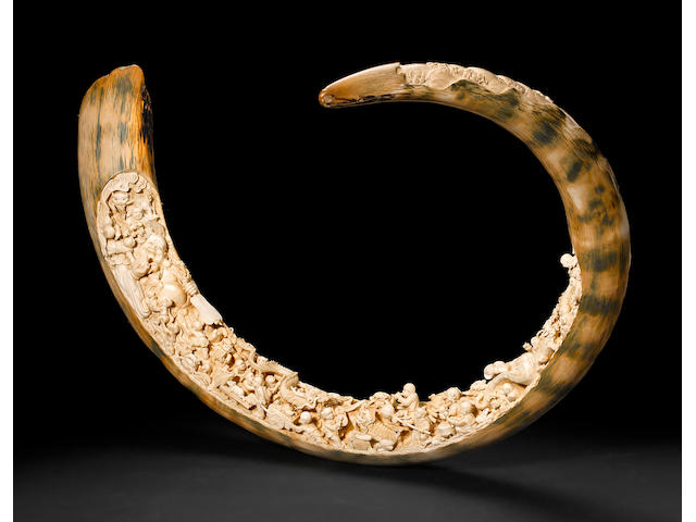 Exceptional Carved Fossil Woolly Mammoth Tusk