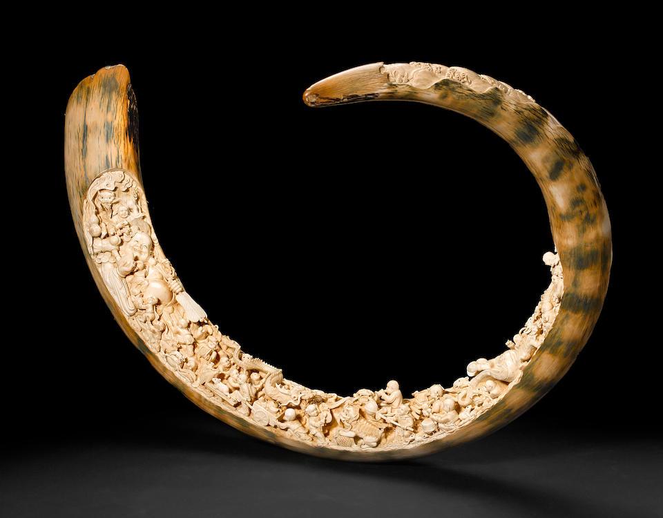 Bonhams : A large carved ivory tusk Late Qing Dynasty