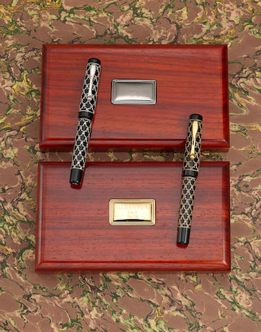 VISCONTI: Alhambra H.R.H. Set of Two 22K Yellow & White Gold with De Deers Diamonds Limited Edition 38 Fountain Pens