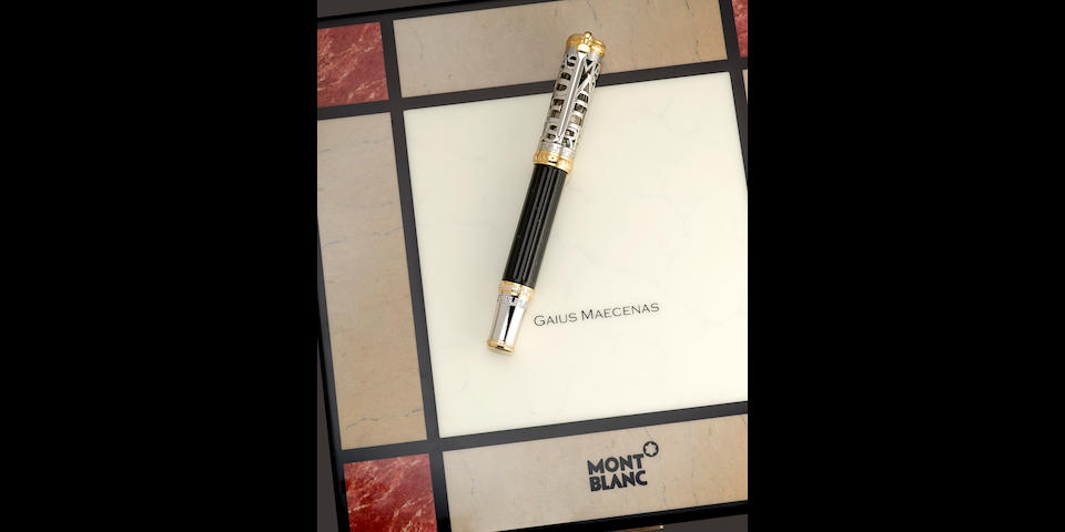 MONTBLANC: Gaius Maecenas 18K Solid White Gold & Diamonds Special Limited Edition 20 Skeleton Fountain Pen *PREMIERE EXAMPLE*
