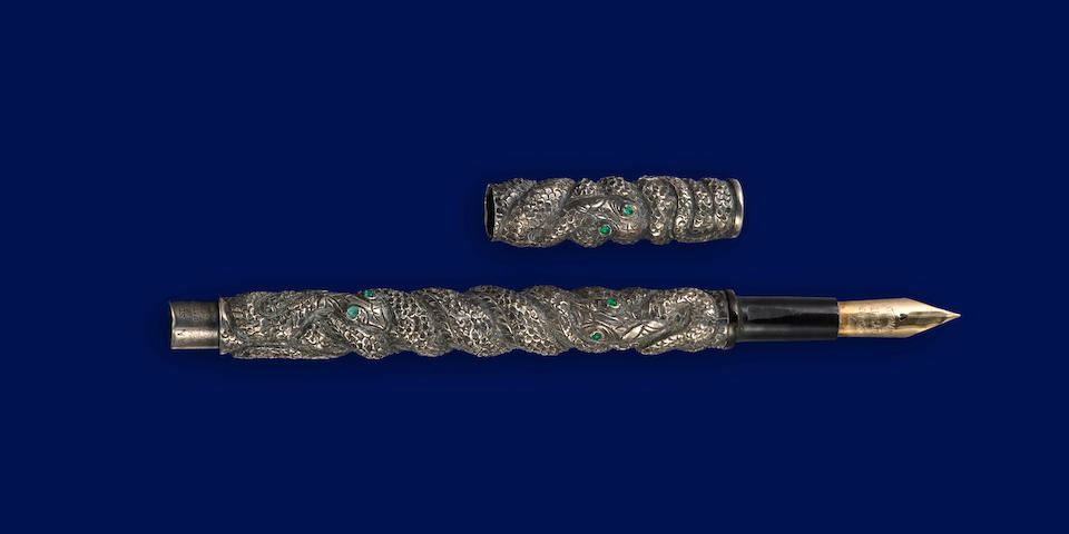 """WATERMAN'S: Unique """"Three Snakes"""" Sterling Silver Fountain Pen, c.1888-98"""