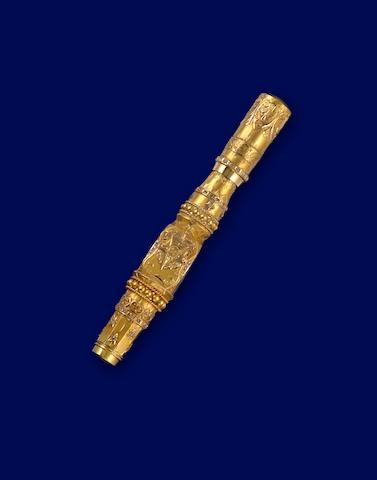 [MONTBLANC - CUSTOMIZED]: Custom Masonic 18K Heavy Gold-Plate & Diamond Safety Fountain Pen, c.1930s