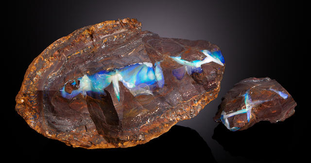 Large and Dramatic Boulder Opal Nodule Half, In Two Sections