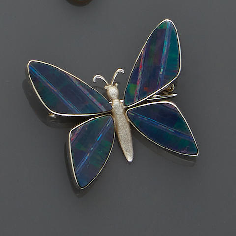 Opal Doublet and Gold Butterfly Brooch