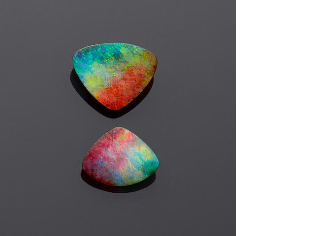 Companion Pair of Exceptional Boulder Opals