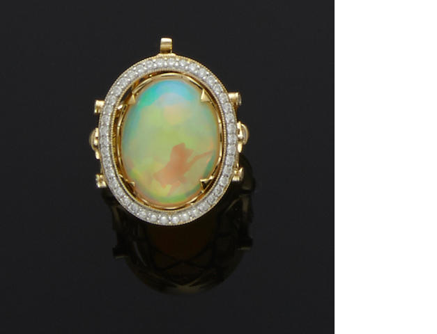 "White Opal and Diamond ""Day-Night"" Ring"
