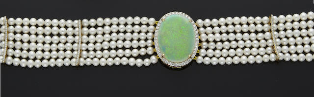 White Crystal Opal, Diamond and Pearl Choker Necklace