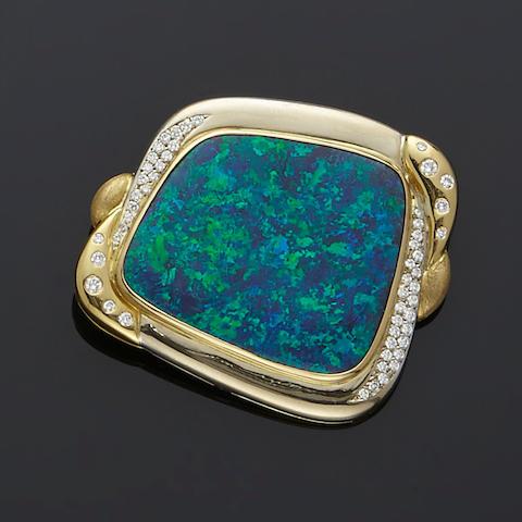 Stylish Black Opal and Diamond Brooch