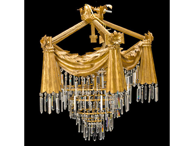 A Neoclassical style gilt metal and cut glass chandelier, 20th century