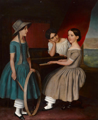 English School. 19th century Three young girls at the piano, 1849 oil on canvas 65 x 54in
