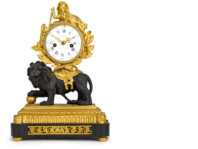 A fine Louis XVI black marble, patinated and gilt bronze mantel clock depicting the infant Hercules and the Nemean Lion the case attributed to Marie-Joseph Cottin, the dial signed Ledoux A Parisfourth quarter 18th century