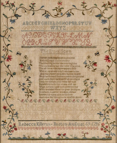 A silk on linen marking and verse sampler wrought by Rebecca Killeran (1781-1804) Boston, dated August 19, 1796