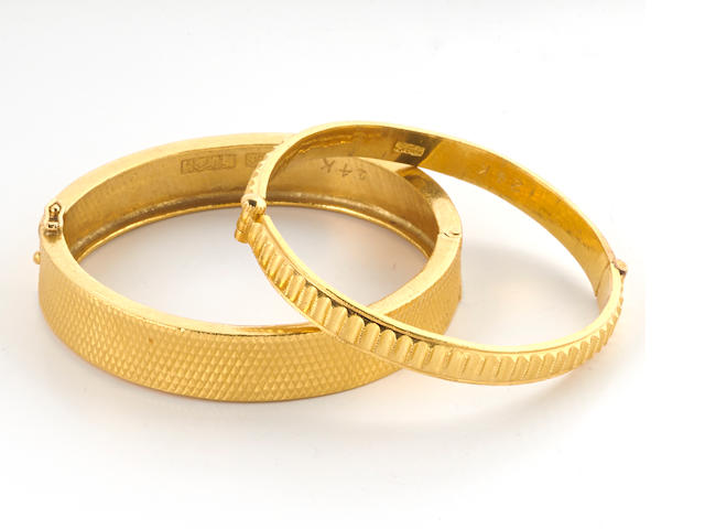 Two high karat gold bangle bracelets