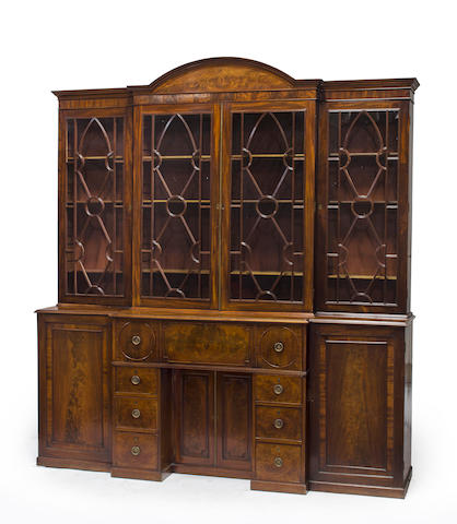 A late George III mahogany breakfront bookcase cabinet late 18th/early 19th century
