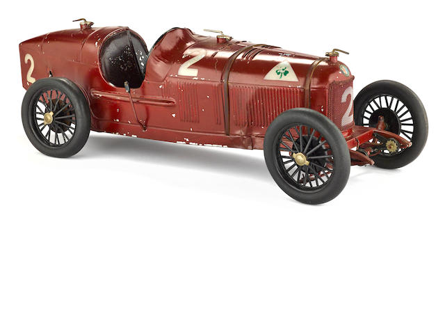 A 1920s Alfa Romeo P2 race car clockwork tin toy, circa 1925,