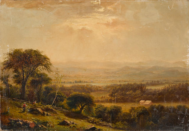 Attributed to Jasper Francis Cropsey (American, 1823-1900) An extensive landscape with figures in the foreground 18 x 26in unframed