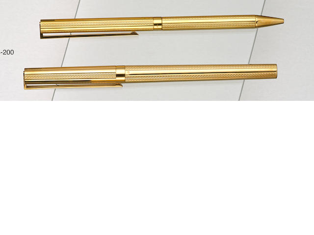 DUPONT: Pair of 18K Solid Gold Guilloched Instruments