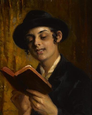 MOZART ROTTMANN (Hungarian, b.1874) Yeshiva Student Studyingsigned (upper right)