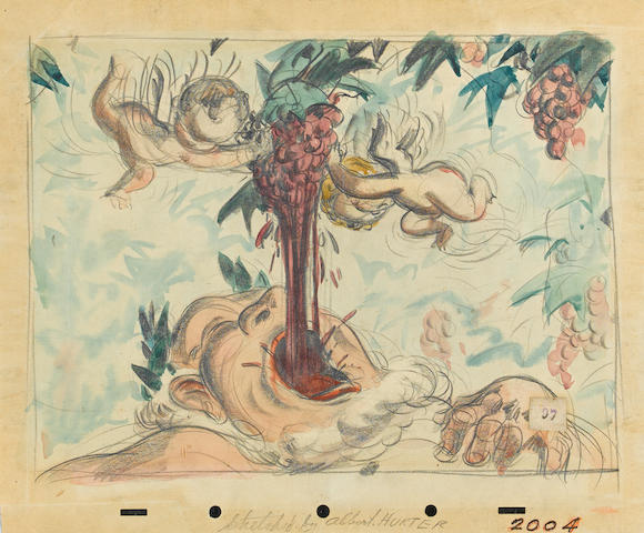 A Walt Disney Studios inspirational drawing of Bacchus and Cupids from Fantasia