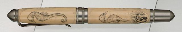 GRAYSON TIGHE: Seahorse Scrimshaw Limited Edition 1 Fountain Pen