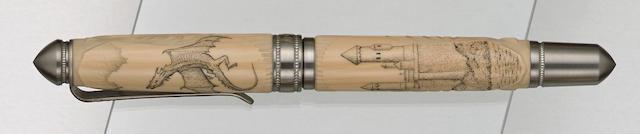 GRAYSON TIGHE: Dragon Scrimshaw Limited Edition 1 Fountain Pen