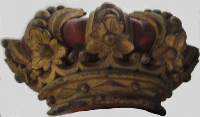 A large red paint-decorated, gilt-heightened wood crown artist unidentified New York City (lower east side), c.1920