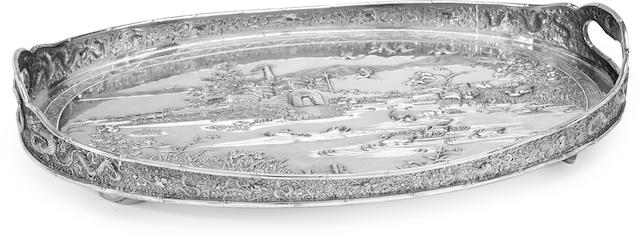 A Chinese Export silver oval two-handled tray by Luen Hing, Shanghai, first quarter 20th century