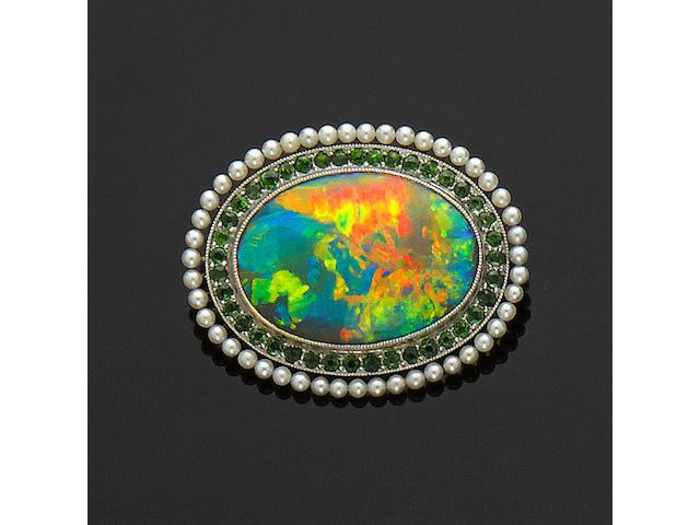 Black Opal, Garnet and Pearl Brooch