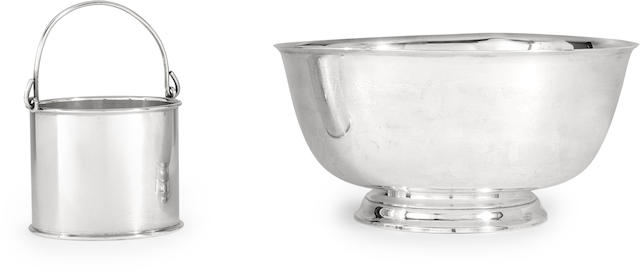 An American sterling silver  punch bowl and a similar ice pail by Tiffany & Co., New York, 1907-47