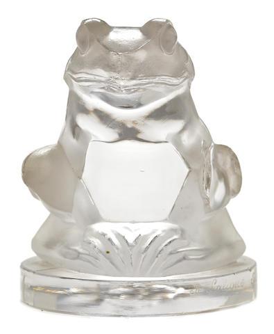 A 'La Grenouille' glass mascot by René Lalique, French, 1928,