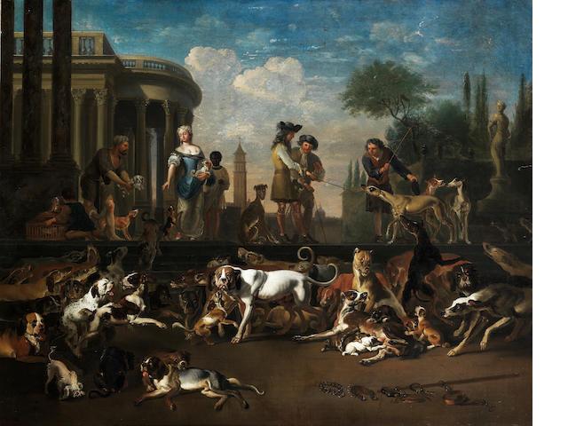 Abraham Danielsz. Hondius (Rotterdam circa 1631-1691 London) Amsterdam Dog Market 38 1/2 x 48 1/2in. (87.8 x 123.2cm.)