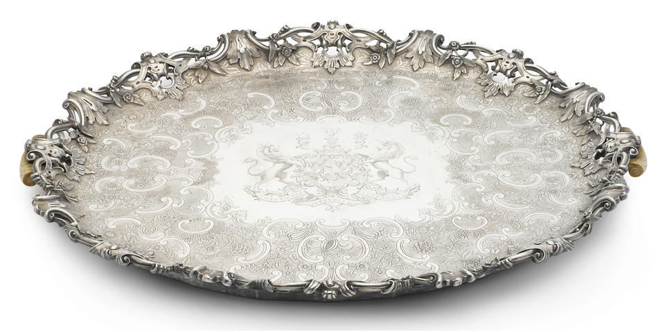 A William IV ivory-mounted sterling silver two-handled oval footed tray by Robert Garrard II, London, 1836