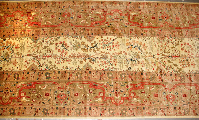 An Indian Tabriz style carpet  size approximately 17ft. x 24ft.